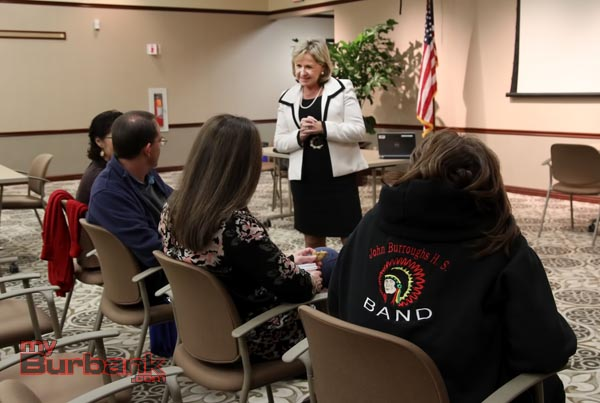 A handful of parents showed up for the Coffee with the Superintendent Jan Britz on Wednesday evening. (Photo by Ross A. Benson)