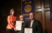 Burbank Mayor Emily Gabel-Luddy, Rotary President Barbara Howell, and Congressman Adan Schiff during Rotary's 90th celebration. (Photo by Ross A. Benson)