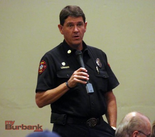 Burbank Fire Chief Tom Lenahan was able to talk about firefighting techniques when solar panel are involved (Photo by Ross A. Benson)