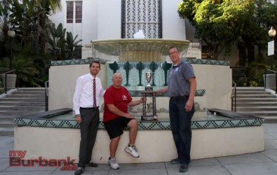"The ""myBurbank CUP"" is in good hands with Burroughs Vice-Principal of Athletics Matt Chambers (far left), Athletic Director Marty Garrison and Burbank Vice Principal of Athletics James Mackey (far right)(Photo by Ross A. Benson)"