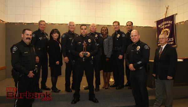 Police officer of the year Christian Diaz with the BPD Command Staff along with BPOA members. (Photo by Ross A. Benson)