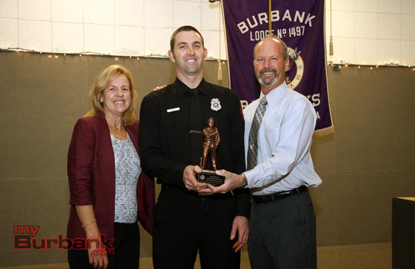 Burbank Firefighter of the Year Eric Rowley with his parents Brian & Debra Rowley. (Photo by Ross A. Benson)