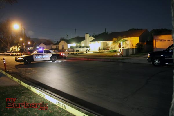 Burbank Police preserve the location where the victim was reported picked up from, awaiting Forensic Specialist to record evidence. (Photo by Ross A. Benson)