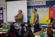 Teacher Beth Morgan and Nickelodeon's Fabian Corona talk with the class. (Photo By Lisa Paredes)