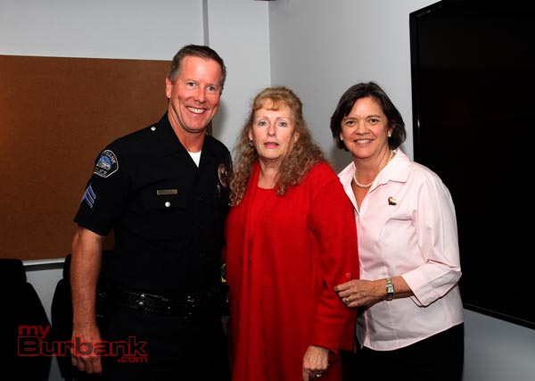 Guests of Zita Lefebvre of Cartoons Networks Valentines Day Lunch include Burbank Police PIO Darin Ryburn and Bonnie Teaford Director of Burbank Public Works. ( Photo by Ross A. Benson)