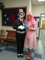 The Cat in the Hat and Principal in Pink for a day, Brandi Young, read to Washington Elementary children for Read Across America. (Photo Courtesy of Washington Elementary)