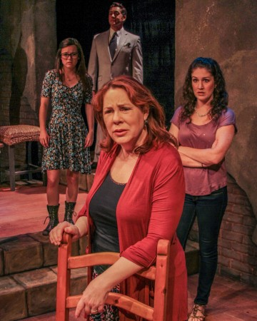 Taylor Gilbert (Center Front) stars with (back row from left to right) Hannah Mae Sturges, Jack Millard and Dani Stephens in the Road Theatre's World Premiere production of SOVEREIGN BODY, by Emilie Beck and directed by Scott Alan Smith. (John Lorenz)