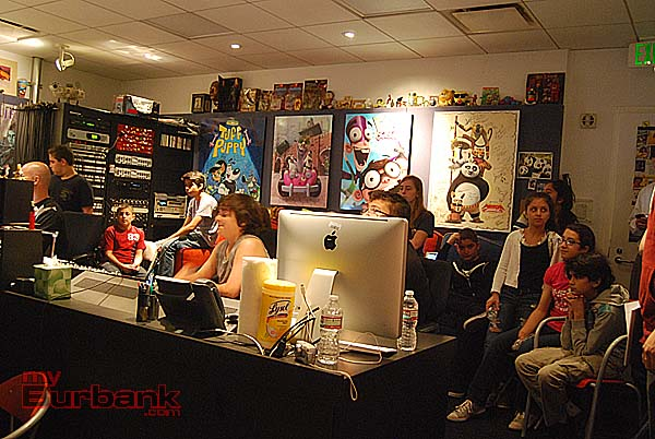 Students watch the process in the recording studio at Nickelodeon. (Photo By Lisa Paredes)