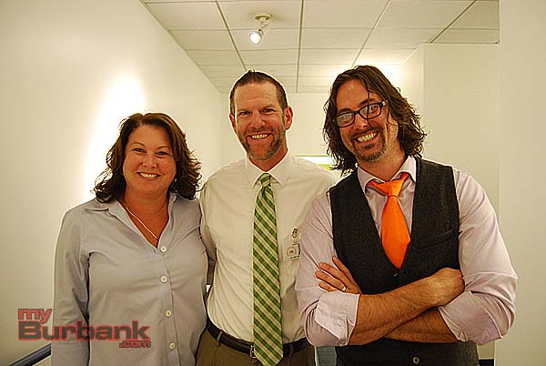 BUSD Visual and Performing Arts Coordinator Peggy Flynn, Muir Principal Dr. Greg Miller and Nickelodeon Manager of Audio Production Justin Brinsfield at Nickelodeon Animation Studios.(Photo By Lisa Paredes)