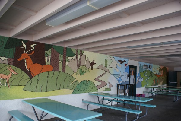 The complete Stevenson lunch shelter mural created by Nickterns. (Photo Courtesy of Anne Askerneese)