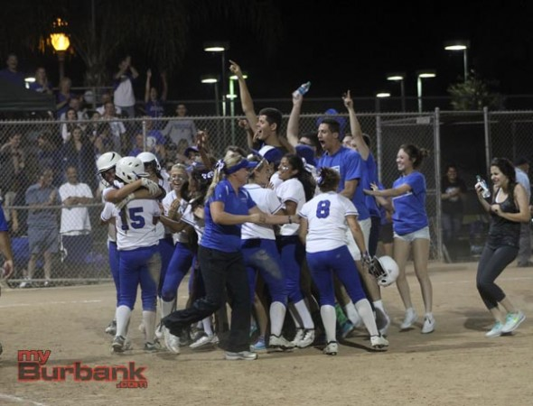 The celebration is on as Burbank goes wild after the thrilling win (Photo by Ross A. Benson)