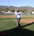 Burbank Mayor Dr. David Gordon throws out the first pitch (Photo by Ross A. Benson)
