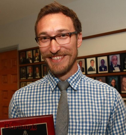 Joshua Junkermeier is recognized as 2014 Teachers of the Year at the Masonic Lodge in Burbank. (Photo By Ross A. Benson)
