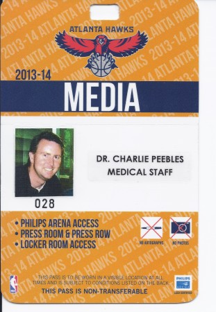 Dr. Peebles has been the team podiatrist for the Atlanta Hawks since 2006