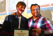 Mentor Jason Meier (Animation Supervisor, TMNT) and Sebastian Schug, grade 10. (Photo By Lisa Paredes)