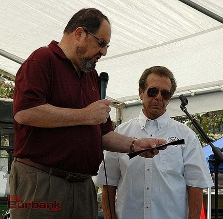 """Mayor David Gordon, left, presents a proclamation to Road Kings President """"Fast Eddie"""" Salvatore during opening ceremonies of the Road Kings Car Show and Picnic in the Park on Sunday at Johnny Carson Park. (photo by Joyce Rudolph)"""