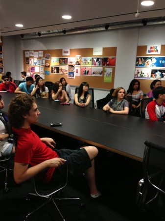 Exchange students from Incheon, South Korea, listen to producers at Cartoon Network talk about new shows and how the studio takes pitches. (Photo Courtesy of Zita LeFebvre)