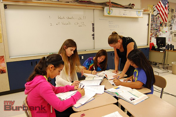 Burroughs High School Health teacher Amy Lucas works with students at the Options For Youth Summer Program at Burbank High School. (Photo By Lisa Paredes)