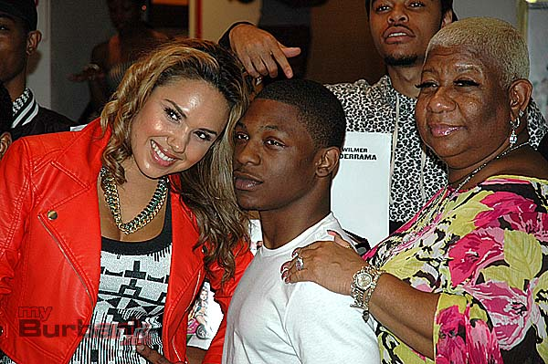 "Stars of the film ""School Dance"", from left, Kristinia DeBarge who plays ""Anastacia"", Bobb'e J. Thompson is ""Jason"", and Luenell is ""Mamma Tawanna"" at the premiere party on Wednesday night at the Burbank AMC 8. (Photo by Joyce Rudolph)"