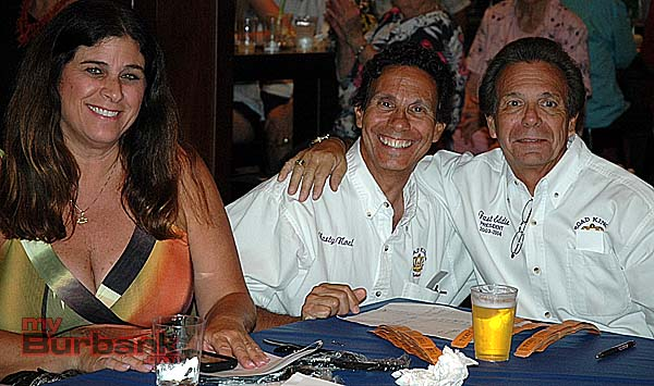 Rhonda Rikki Kirchner with brothers Nasty Noel Salvatore, center, and Fast Eddie Salvatore, who are keeping track of several drawing prize tickets at the Burbank Historical Society fundraiser at Story Tavern. (Photos by Joyce Rudolph)