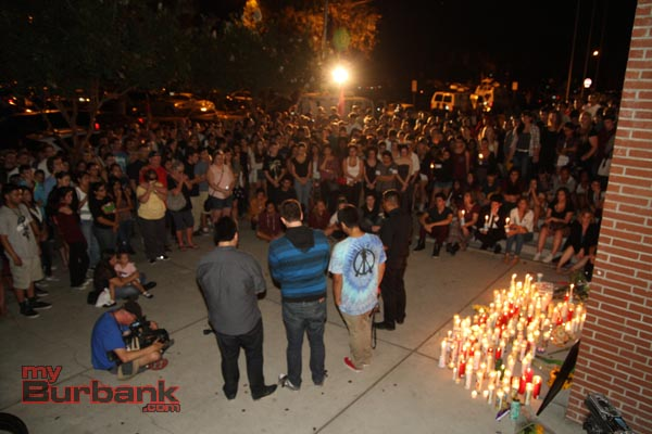 The crowd of mourners grew throughout the evening (Photo by Ross A. Benson)