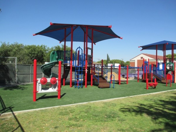 The Measure S Bond funds have paid for this completed playground with grass-covered floors at McKinley Elementary. (Photo Courtesy of Burbank Unified School District)
