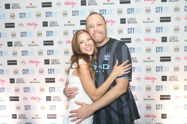 Shannon and Ian MacLeod on the Manchester City FC blue carpet ahead of the club's City Live event. (Photo Courtesy of Manchester City Football Club)