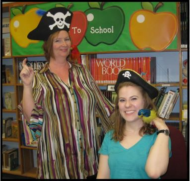 Cathleen Bowley and Jenny Darwent from the Central Library's Children's Department get in the spirit for Talk Like A Pirate Day. (Photo Courtesy of Burbank Public Library)