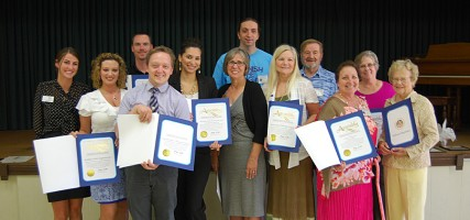 Burbank Coordinating Council thanked local organizations and area camp programs for helping 98 Burbank youth attend summer camp. Pictured are (form left to right): Alexis Miller (Assemblyman Mike Gatto's office), Heather Olson (Golden State Gymnastics Program Director), Sam Albrecht (YMCA Director of Camping Services), Bryan Snodgrass (YMCA Director Summer Camp), Grace Coronado (Burbank Parks and Recreation Services), Shelly Mutch (Forest Home Special Projects Coordinator), Jason Diel (BCC), Nancy Boyden (National Charity League Provisional Chair), Henry Diel (BCC), Janel Diel (BCC President), Sandra Thompson (BCC) and Doris Palmer (BCC.) (Photo By Lisa Paredes)