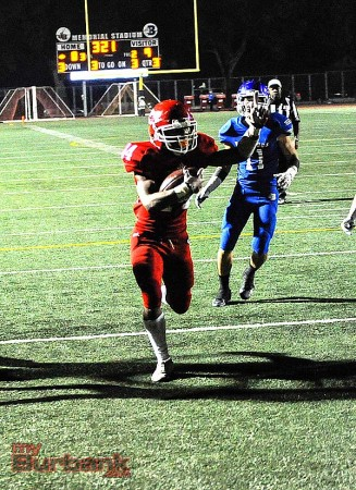 Chance Bell of Burroughs scores the lone TD for the Indians (Photo by Craig Sherwood)