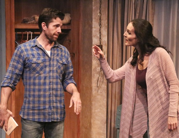 Tyler Pierce and Charlotte Cohn star in the Colony Theatre Company's West Coast premiere production of HANDLE WITH CARE, written by Jason Odell Williams and directed by Karen Carpenter and now playing at the Colony Theatre in Burbank. (Photo courtesy Michael Lamont)