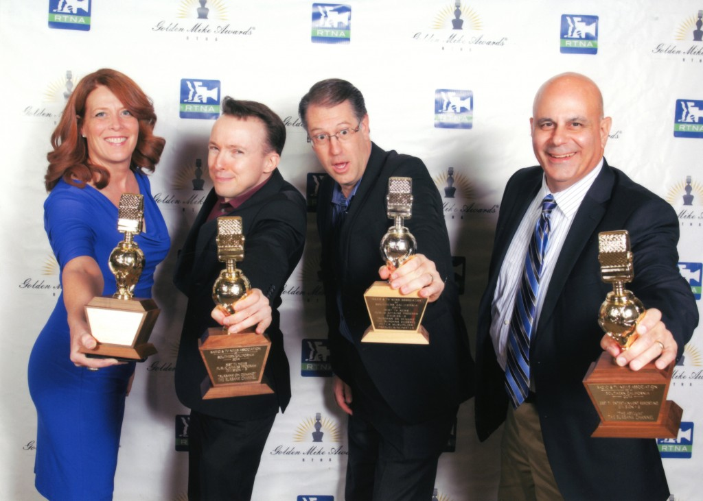 The Burbank Channel staff ( (l-r Colleen Duffy Felix, Walter Lutz, Drew Sugars, Peter Musurlian) show off some of the awards collected Saturday night. (Photo Courtesy Radio Television and News Association of Southern California)