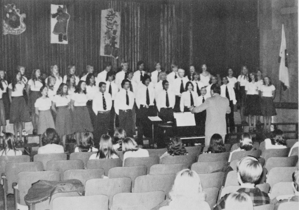In 1976, Jordan students put on a vocal concert at the school. (Photo Courtesy David Starr Jordan Middle School Yearbook)
