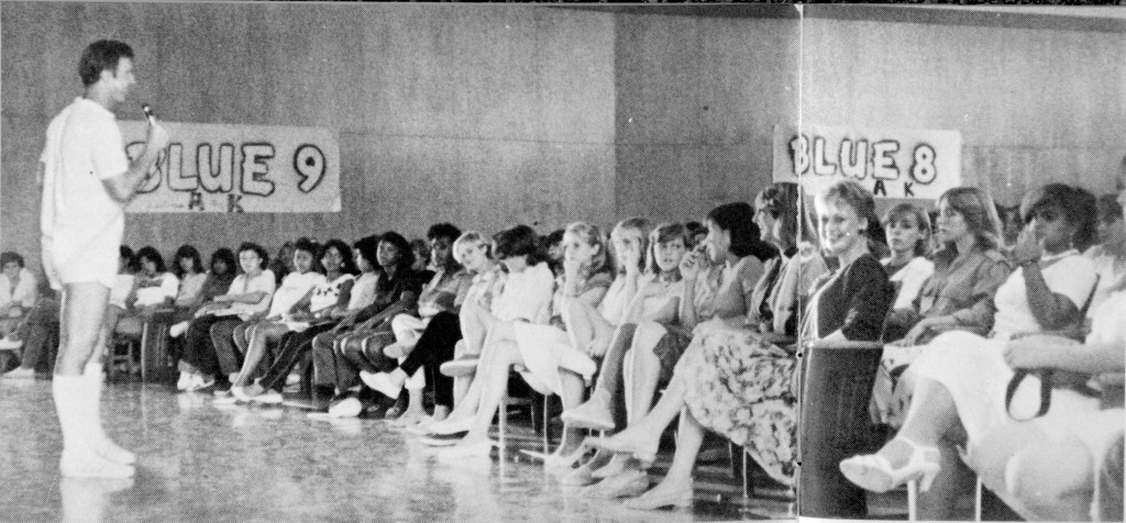 The Jordan auditorium has been a focal point of the school's activities. This photo is from 1984. (Photo Courtesy David Starr Jordan Middle School Yearbook)