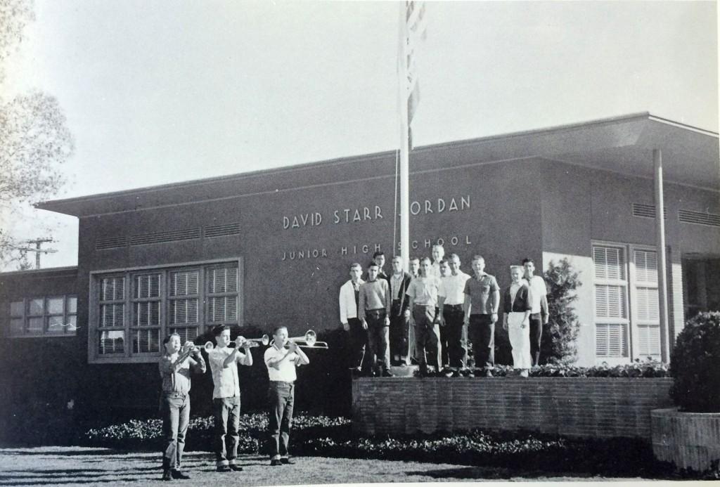 Jordan students play reveille in 1958. (Photo Courtesy David Starr Jordan Middle School Yearbook)
