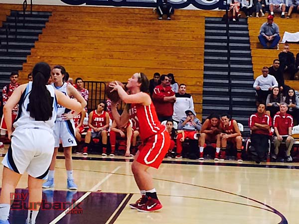 Chloe Takeuchi knocks down a free throw giving the Indians a 35-33 lead (Photo by Dick Dornan)