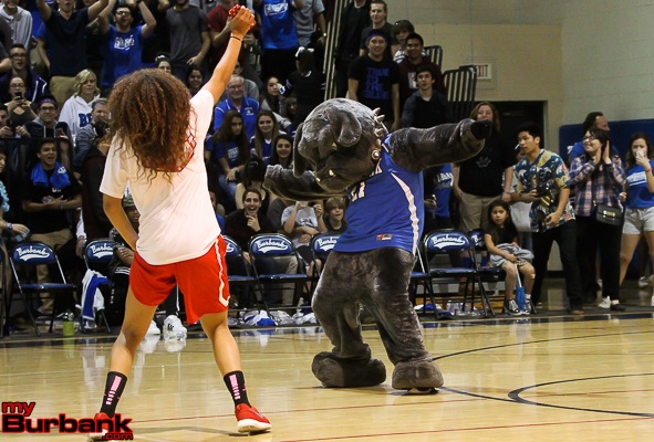 Sienna Brown of Burroughs and the Bulldog mascot have a dance-off to the delight of the crowd (Photo by Ross A. Benson)