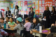 Students at Miller Elementary participate in a theater class with NEA Chairman Jane Chu and other officials observing. (Photo By Lisa Paredes)