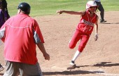Delaney Nicol rounds third base for another Indians run (Photo by Dick Dornan)