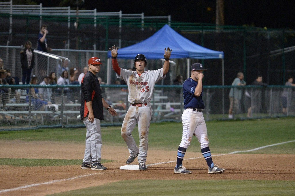 Roy Hirota smashed a triple, the game's only extra base hit (Photo courtesy of Mitch Haddad)