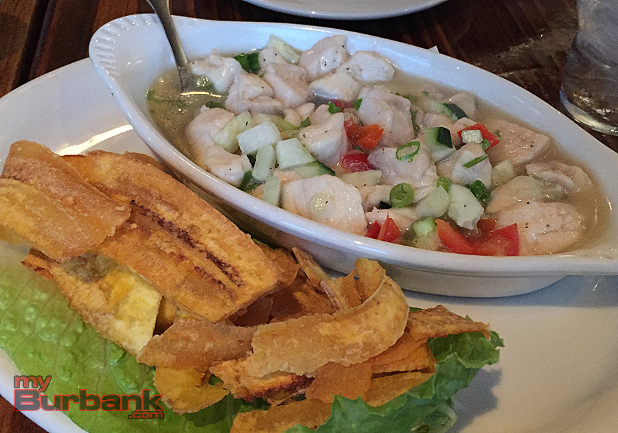 The Hangar Grille's Snapper Ceviche: plantain chips accompany high quality fish seasoned with tangy lime and chopped vegetables. (Photo By Lisa Paredes)