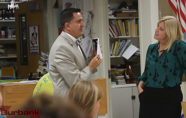 Luther Middle School Principal Oscar Macias and Rebecca Mieliwocki. (Photo by © Ross A. Benson)
