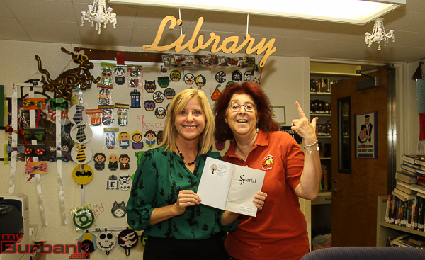 2012 National Teacher of the Year and current BUSD Coordinator, Secondary Induction and Professional Development, Rebecca Mieliwocki and Luther Middle School Librarian Dana Cobern-Kullman (from left to right).(Photo by © Ross A. Benson)