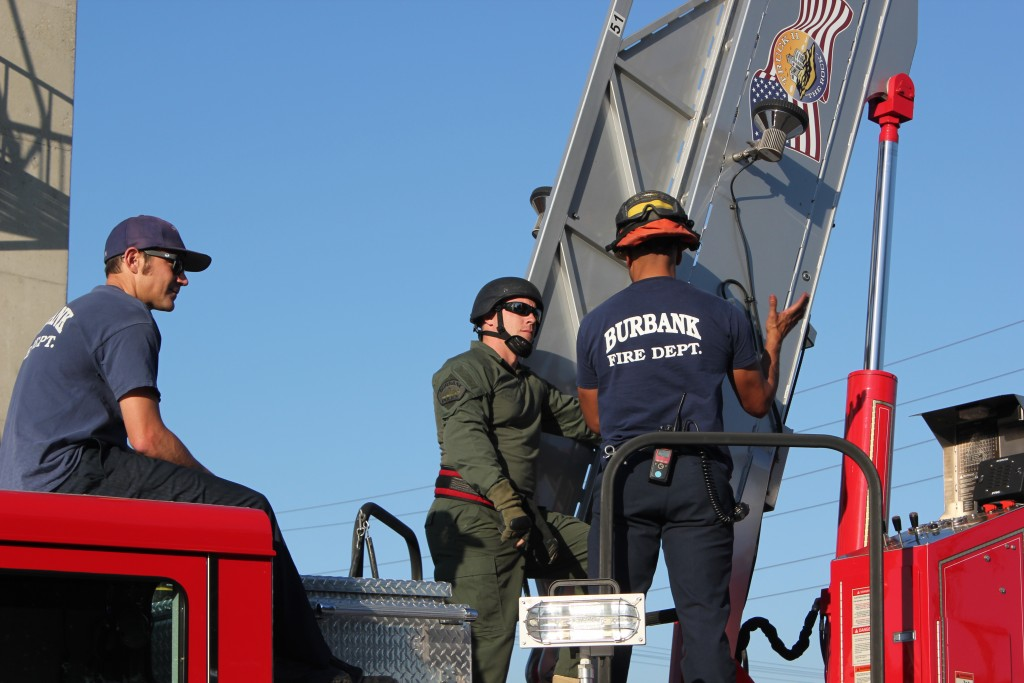 Burbank Firefighters train Burbank Police SWAT Officers on how to operate a ladder truck in case they need to fight a fire in an area to dangerous for firefighters (Photo Courtesy Adam Cornils)
