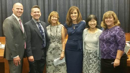Pictured L to R: Superintendent Matt Hill, AP Craig Bugbee, AP Marilyn Snook, Principal Sandra De Barros, Principal Judy Hession, and Board President Charlene Tabet (District Photo)
