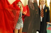 Fourth-graders Lily May and Lauren Matlock in the halls of Hogwarts/Roosevelt Elementary.  (Photo By Lisa Paredes)