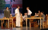 "Burroughs students Daniel Beimford (Matthew Harrison Brady) and Nick Apostolina (Henry Drummond) get into it during a scene from the JBHS Drama production of ""Inherit The Wind."" (Photo By Lisa Paredes)"