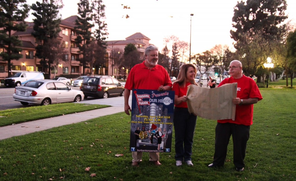 Organizers, from left, Carey Briggs, Joanne Lento Miller and Ross Benson plan where the post-parade entertainment will be on Olive Avenue for the Burbank On Parade and Family Festival scheduled on Saturday, April 23. ( Photo courtesy Burbank On Parade)