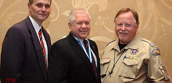 Boy Scouts Verdugo Hills Council Scout Executive Mark Kraus, from left, with incoming council President Sam Engel Jr. and incoming Commissioner Andrew Turner. (Photo By Joyce Rudolph)