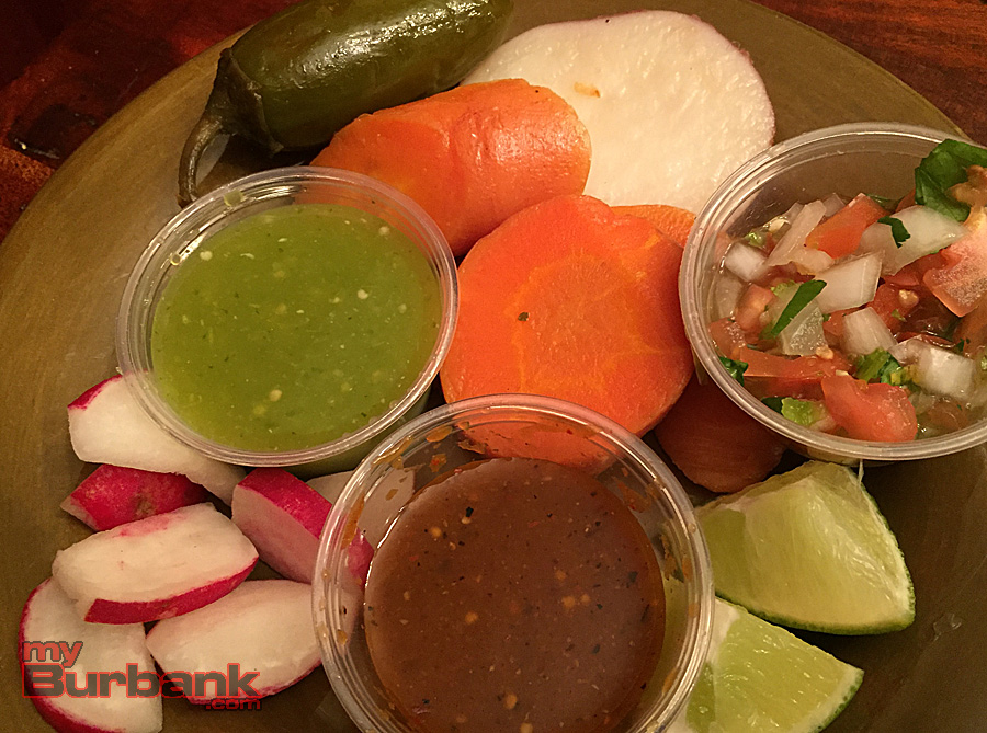 Selections from Taqueria El Tapatio's fresh salsa and sides bar. (Photo By Lisa Paredes)